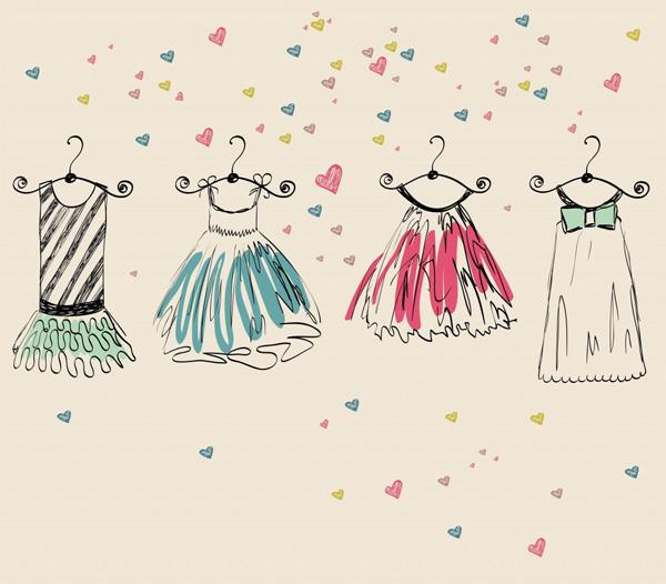 Formatos de vestidos infantis