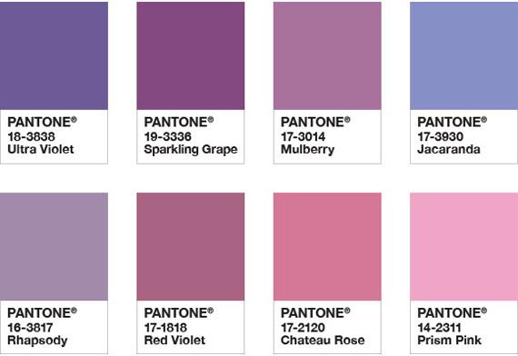 Sugestão de combinação Ultra Violet com cor de rosa