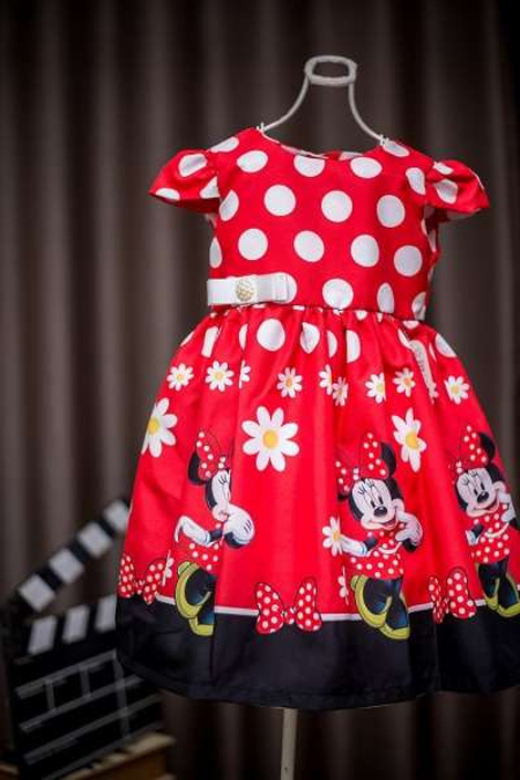 Vestidos infantis de personagens - Minnie Mouse